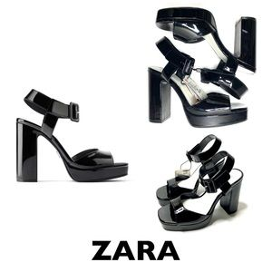 ZARA Black High Heeled Patent Sandals 70s Size 38